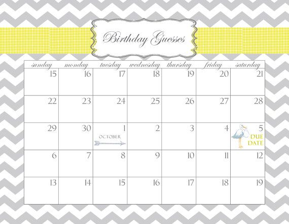 Baby Shower Calendar Printable PDF Birthday Guesses by stzdesigns - baby shower guest list template