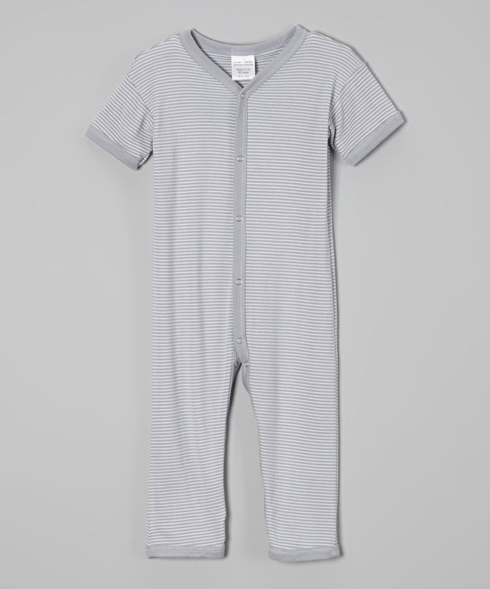Another great find on #zulily! Luca Charles Silver Small Stripe Playsuit - Infant by  #zulilyfinds