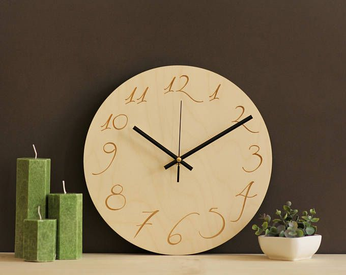 Wood wall clock / Scandinavian design / Nordic wall clock / Simple ...