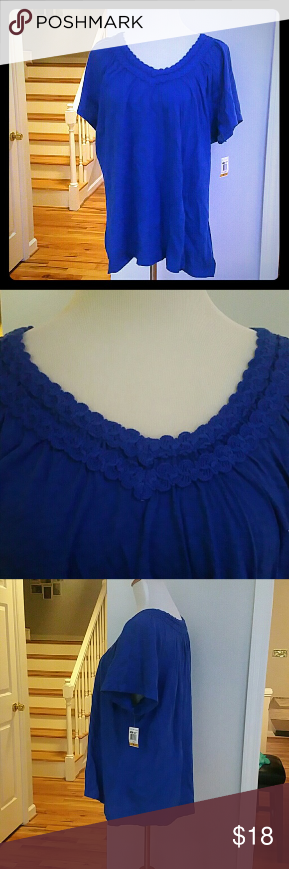 NWT JM COLLECTION PLUS SIZE TOP NWT JM Collection Plus Size Short-Sleeve Crochet-Trim Top  Color : Deep Pacific  Size : 3X  Materials : 100% COTTON JM Collection  Tops Tees - Short Sleeve