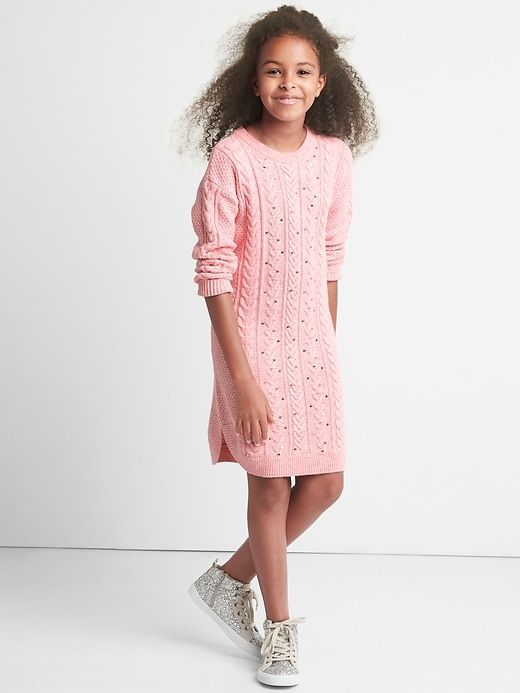 aa135ede6115 Gap Girls Sequin Cable Knit Sweater Dress Pink Heather