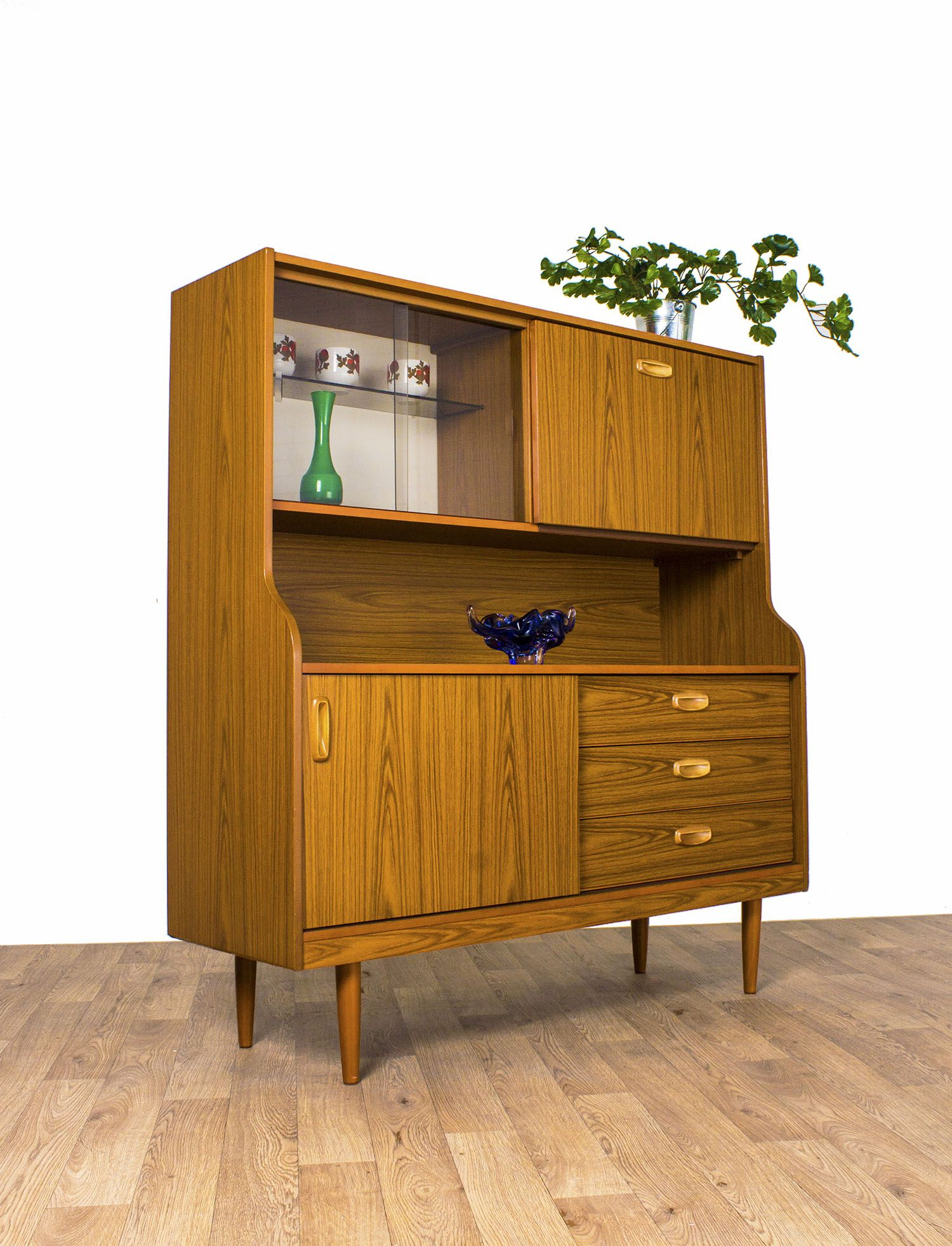 schreiber display cabinet sideboard highboard teak retro. Black Bedroom Furniture Sets. Home Design Ideas