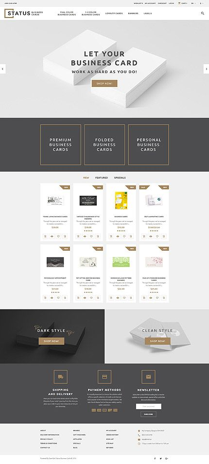 Business Cards Online Store OpenCart Webtemplate Themes - Business card online template
