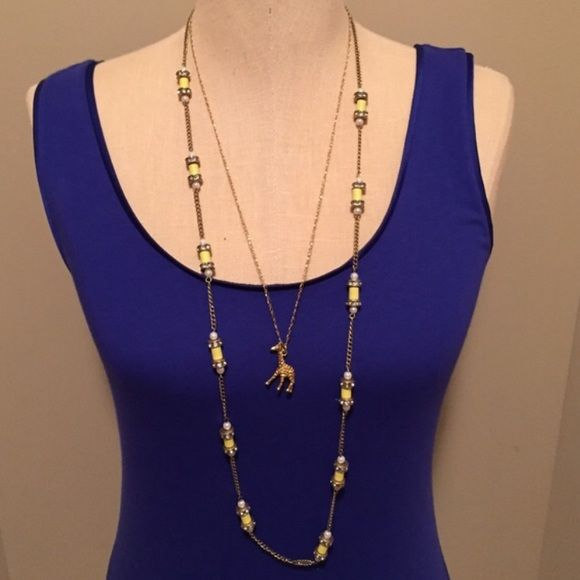 JCrew Factory Chain Bead Necklace EUC Yellow beads with