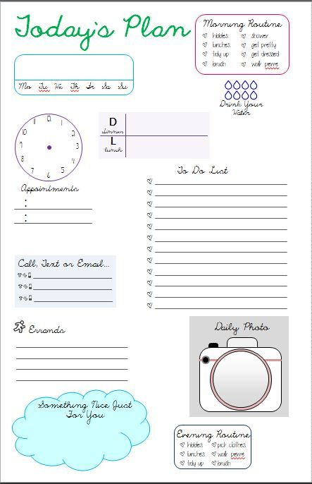 My Daily Page Template Planners \ Planning Pinterest - daily planner word template