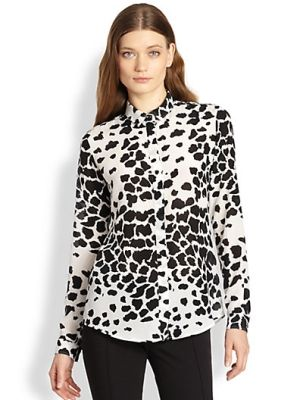 Silk Animal Print Blouse $550.0 by Saks Fifth Avenue