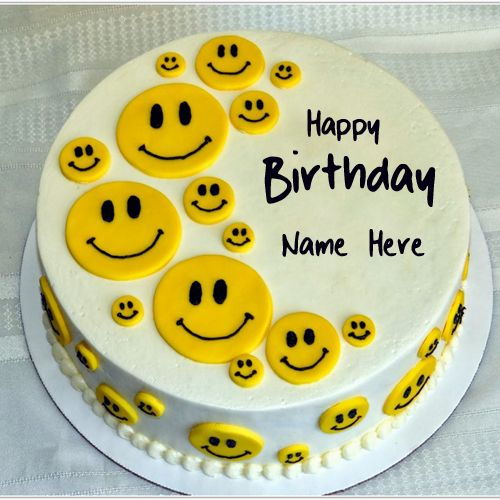 Cute And Sweet Birthday Cake With Your Name Write Name On: Cute Smiley Yellow Birthday Cake With Your Name.Print Name