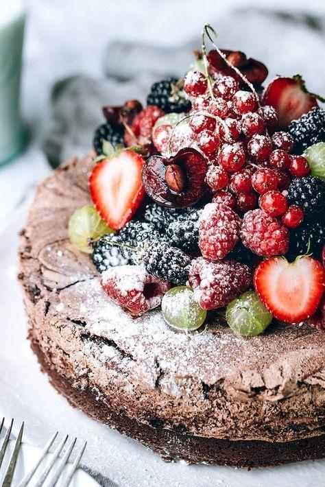 Chocolate Meringue Cake with Fresh Berries - -