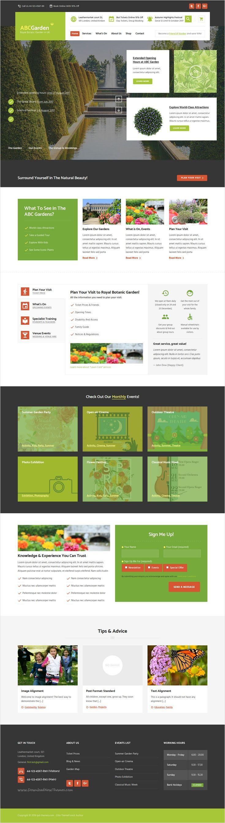 Abc Garden Is Beautifully Design Premium Wordpress Theme For Multipurpose Botanic Garden Events Park Websi Garden Design Layout Layout Design Garden Design