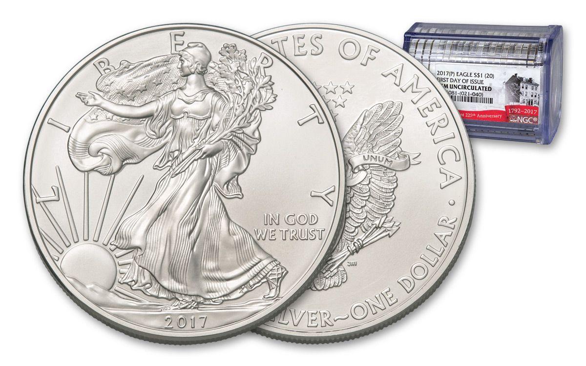 2017 P Us 1 Oz Silver Eagle 20 Roll Ngc Gem Fdi Struck 225th Govmint Com Silver Eagles Silver Coins Silver Bullion Coins