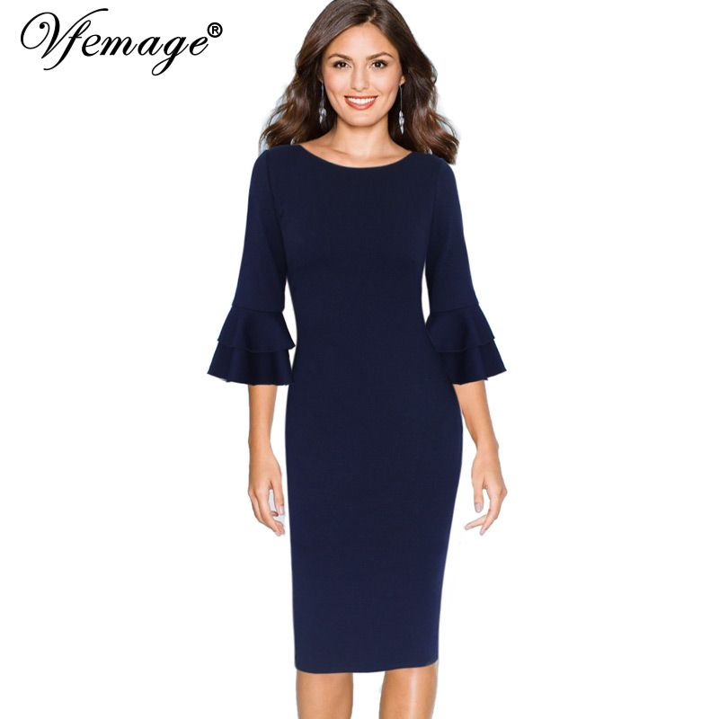 8246dd787c Women Autumn Elegant Flare Bell Sleeve Vintage Wear To Work Office ...