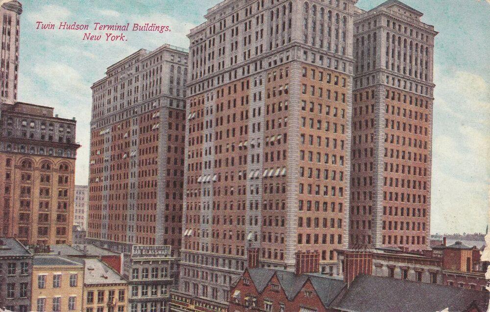 P/C of Twin Hudson Terminal Buildings, Lower Manhattan, N.Y. City early 1900's manhattannewyork #lowermanhattan #manhattanskyline #tavernonthegreen #greenwoodcemetery #fultonstreet #newyorkcityny #longislandcity #aerialview