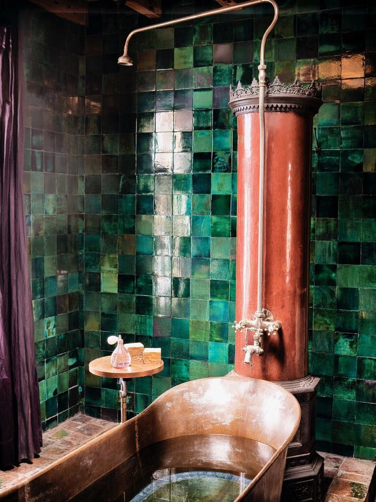 Photo of The tiles are amazing!  The emerald green with the copper tub has a lovely effec…