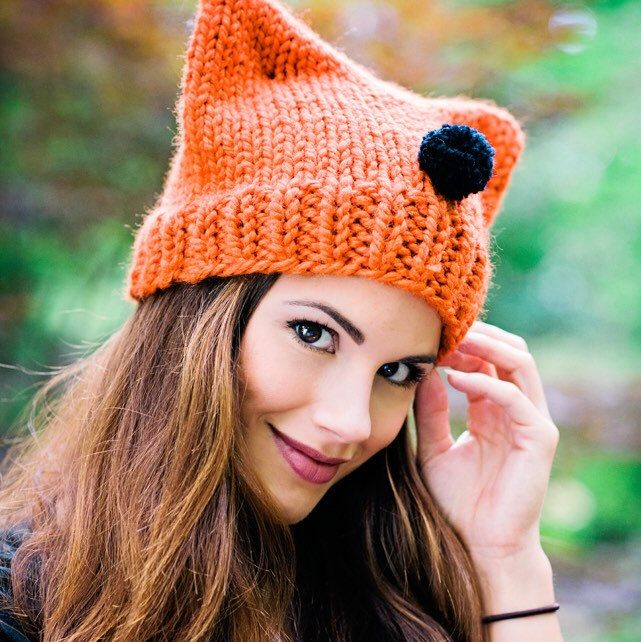 Cat ear beanie hats are so popular right now! Knit one in ...