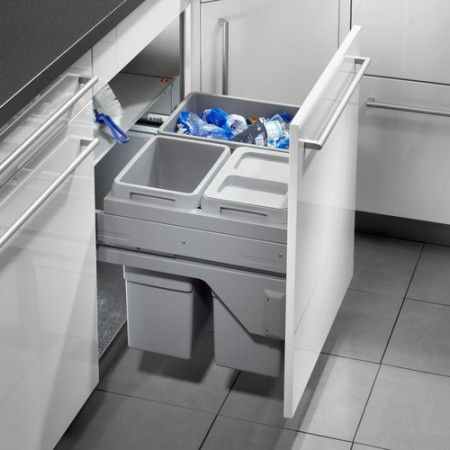 Euro Cargo S Waste Bin 2 X 13 Litre 1 30 Pull Out Kitchen Bins With Soft Close Runners Cabinet 56 Litres
