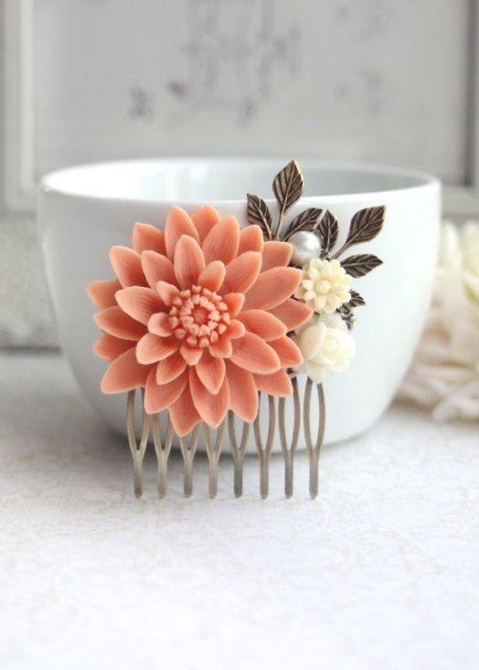 Peach Wedding Large Peach Chrysanthemum Flower por Marolsha en Etsy