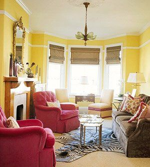 Explore Yellow Living Rooms And More Furniture Layout For A Narrow Room With Fireplace Bay Window