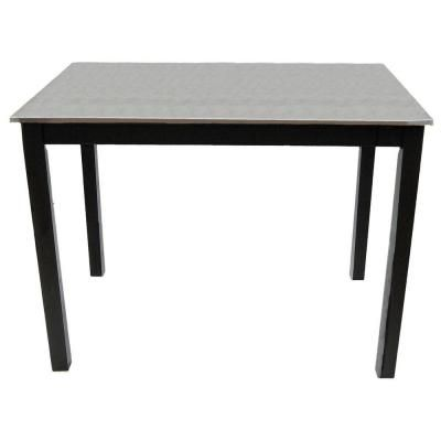 Carter Black Bar Table, Stainless Steel Top Hand Finished In Black