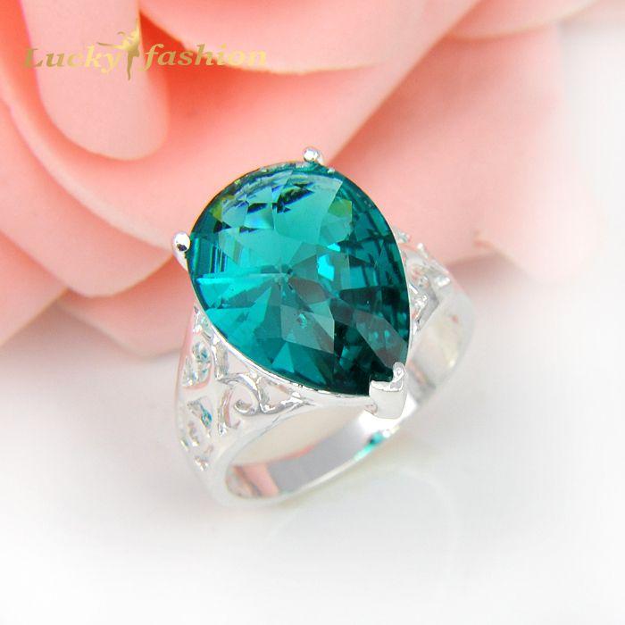 2Pcs 1 Lot Shiny Crystal London Blue Created Glass Wedding Rings