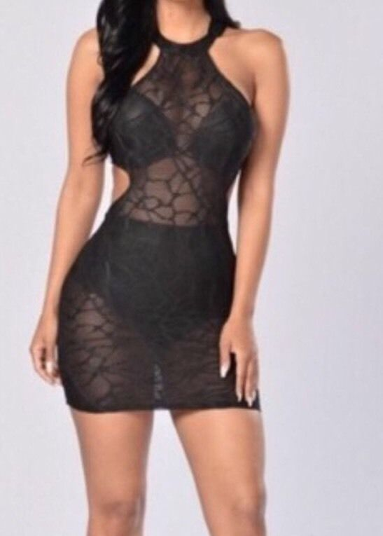 2a41cb5fe1 Fashion Nova See Thru Dress- Black New