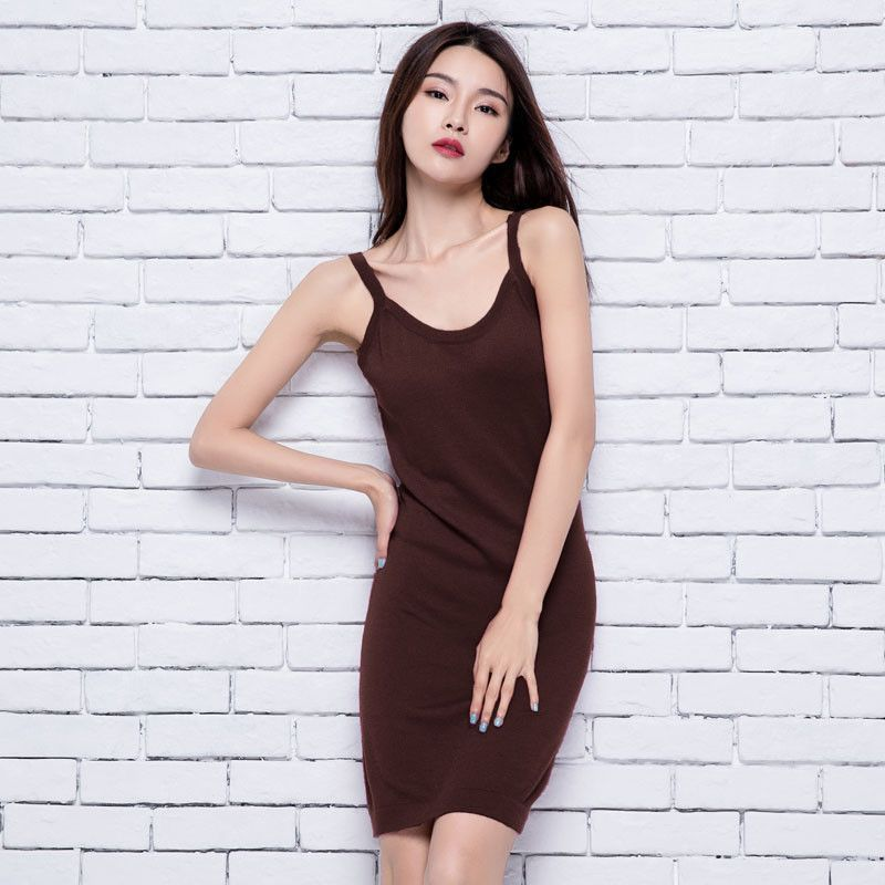 Women's Silk Cashmere Blend Long Spaghetti Strap Knitted Stretched Sweater Dress Slim Fitted Sexy Camisoles Dress Tanks