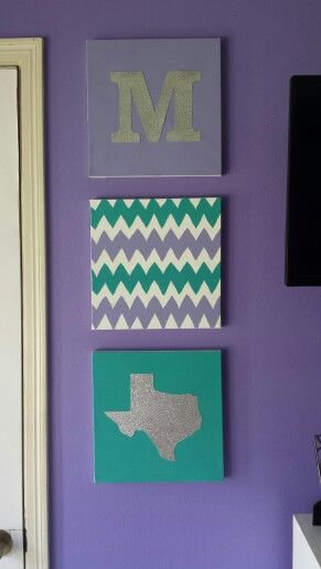 Simple and cute decor. Easy to create it on your own. All you need is canvases, paint, and glitter paper.