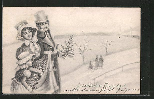 Künstler-AK V.K., Vienne Nr. 5003/a: Paar mit Kind im Schnee, Neujahr 0