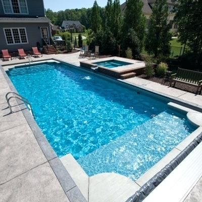 Rectangular Fiberglass Pool Fiberglass Pool With Tanning Ledge Pools Backyard Inground Rectangular Pool Swimming Pools Backyard Inground