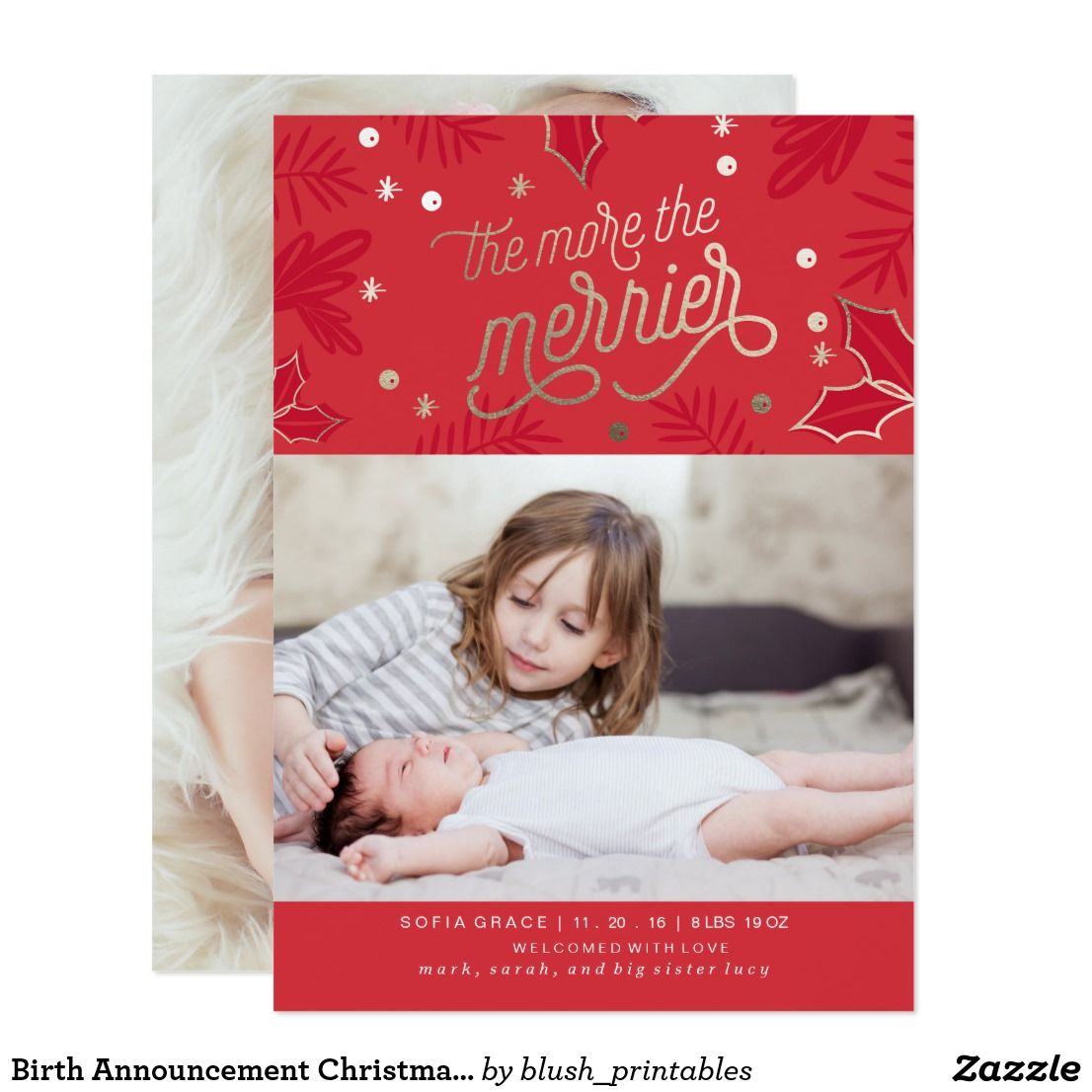 Birth Announcement Christmas Card | Blush For Zazzle | Pinterest