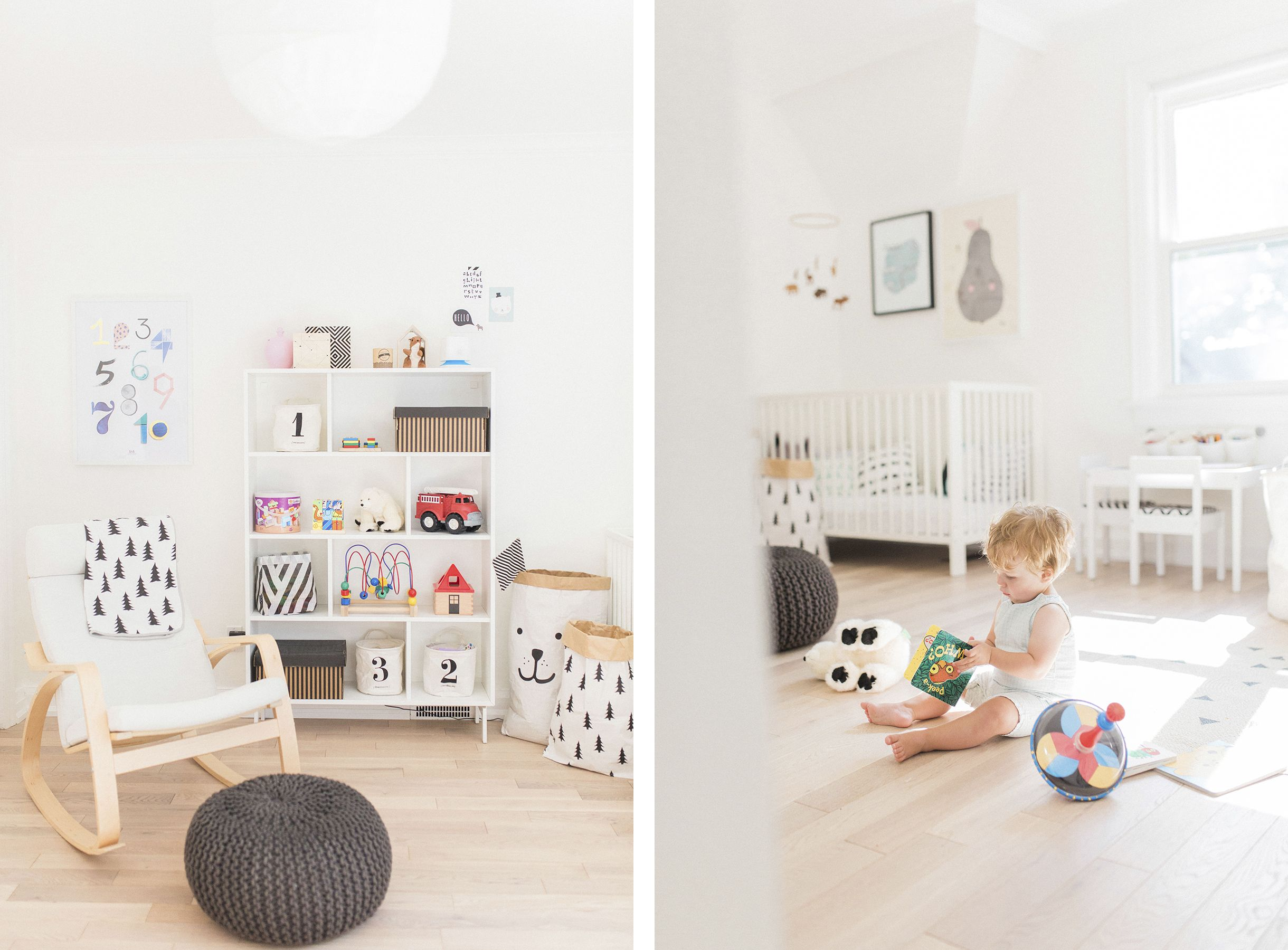 Scandinavian shared kids room light filled pastel baby Scandinavian baby nursery