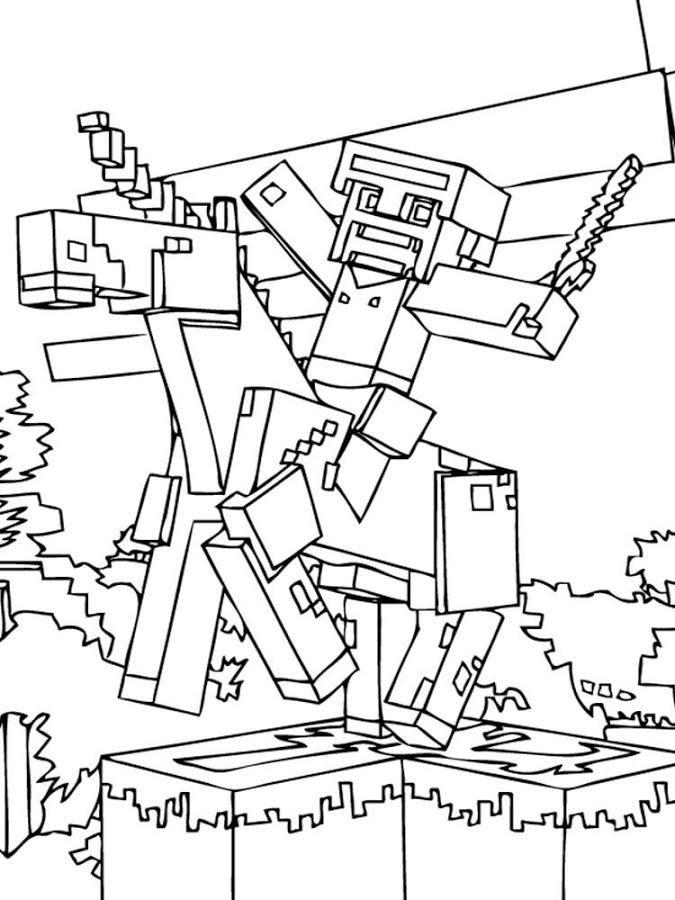 Minecraft Steve Malvorlagen Gratis Für Kinder Minecraft Coloring