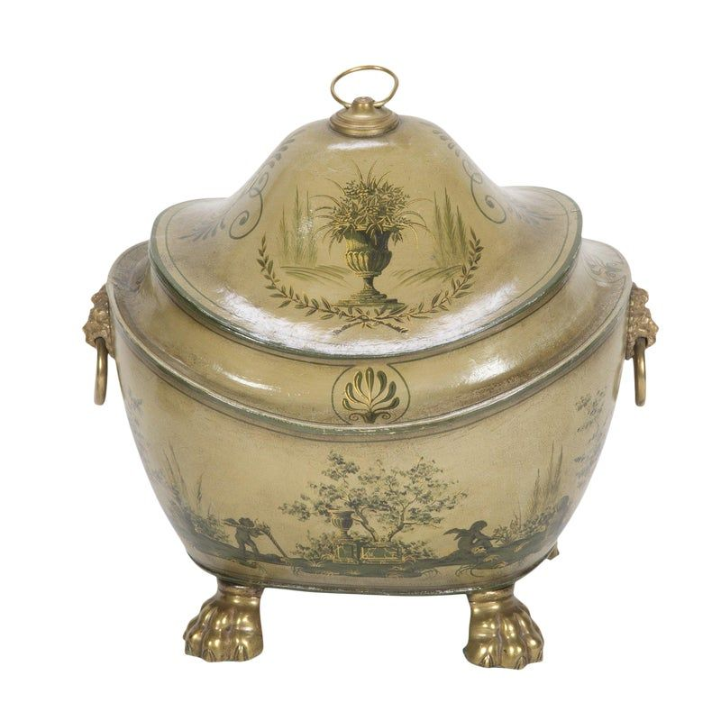 Regency Olive Green Tole Painted Coal Scuttle With Domed Lid #tolepainting