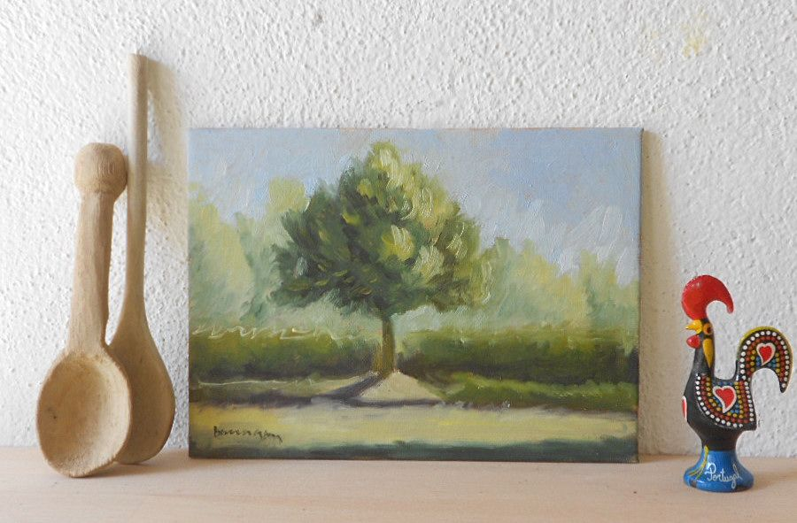 """Tree at the Campo Sportivo"" - oil on canvas board, 5 x 7 in., signed on front & back, painted one morning in Umbria Italy from direct observation. See more here: https://www.etsy.com/shop/BarraganPaintings"