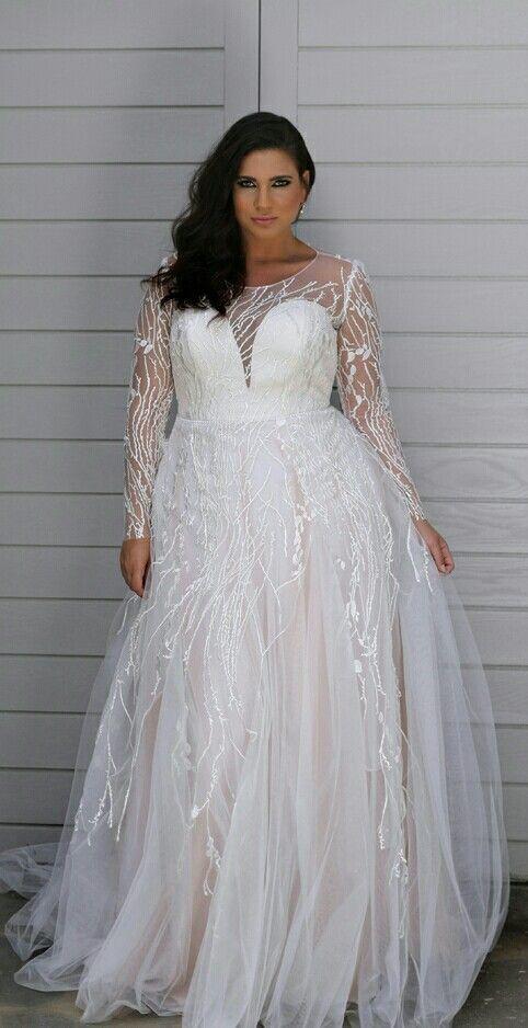 92bf - Sheer long sleeve plus size bridal dresses | Bridal dresses ...