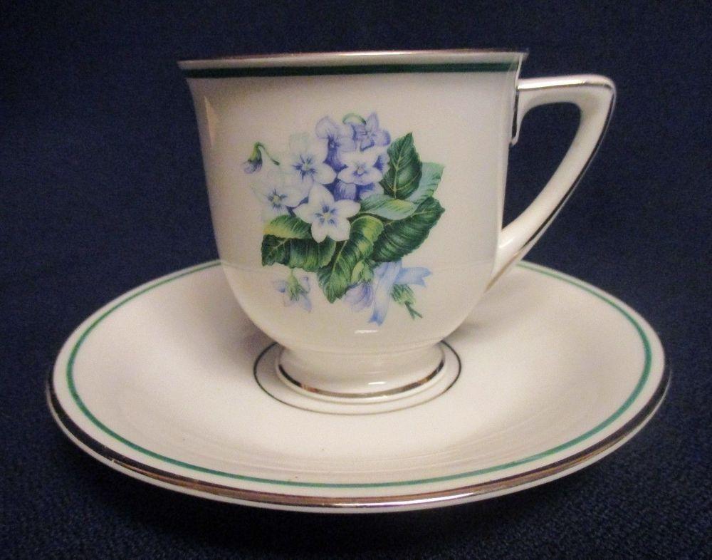 Vintage Heinrich H & Co Selb Demitasse Cup & Saucer Set Bavaria Germany Violets #HCoHeinrich