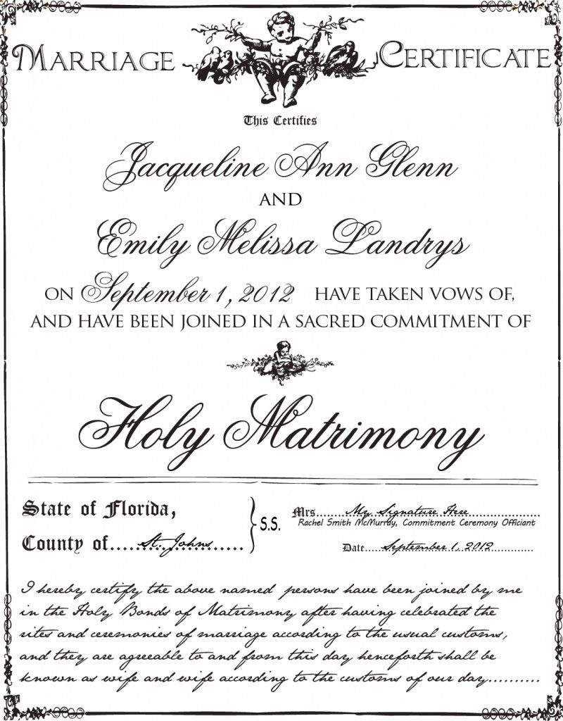 Gay marriage license