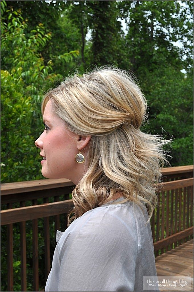 55a071c969 This hairstyle tutorial will show you a simple way to wear your hair half  up. I actually wore my hair like this for my wedding 3 years ago. We had a  small ...