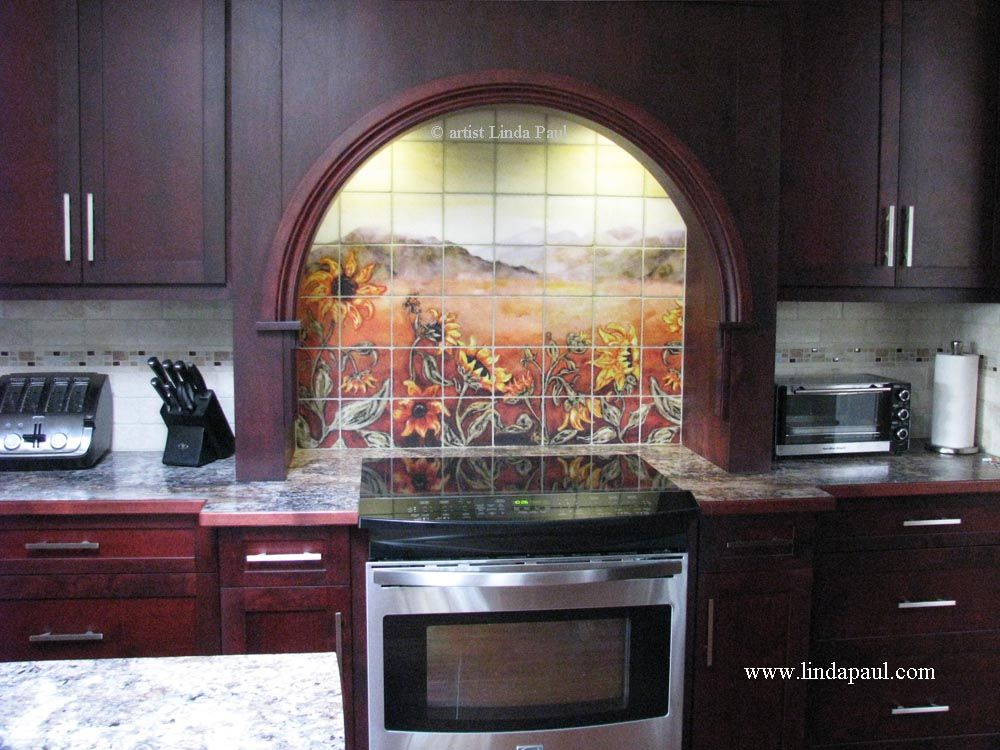 Sunflower Field Ceramic Tile Mural Tile Murals Colorful Kitchen
