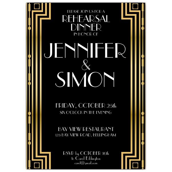 Gatsby Gold Rehearsal Dinner Invitations Paperstyle Design