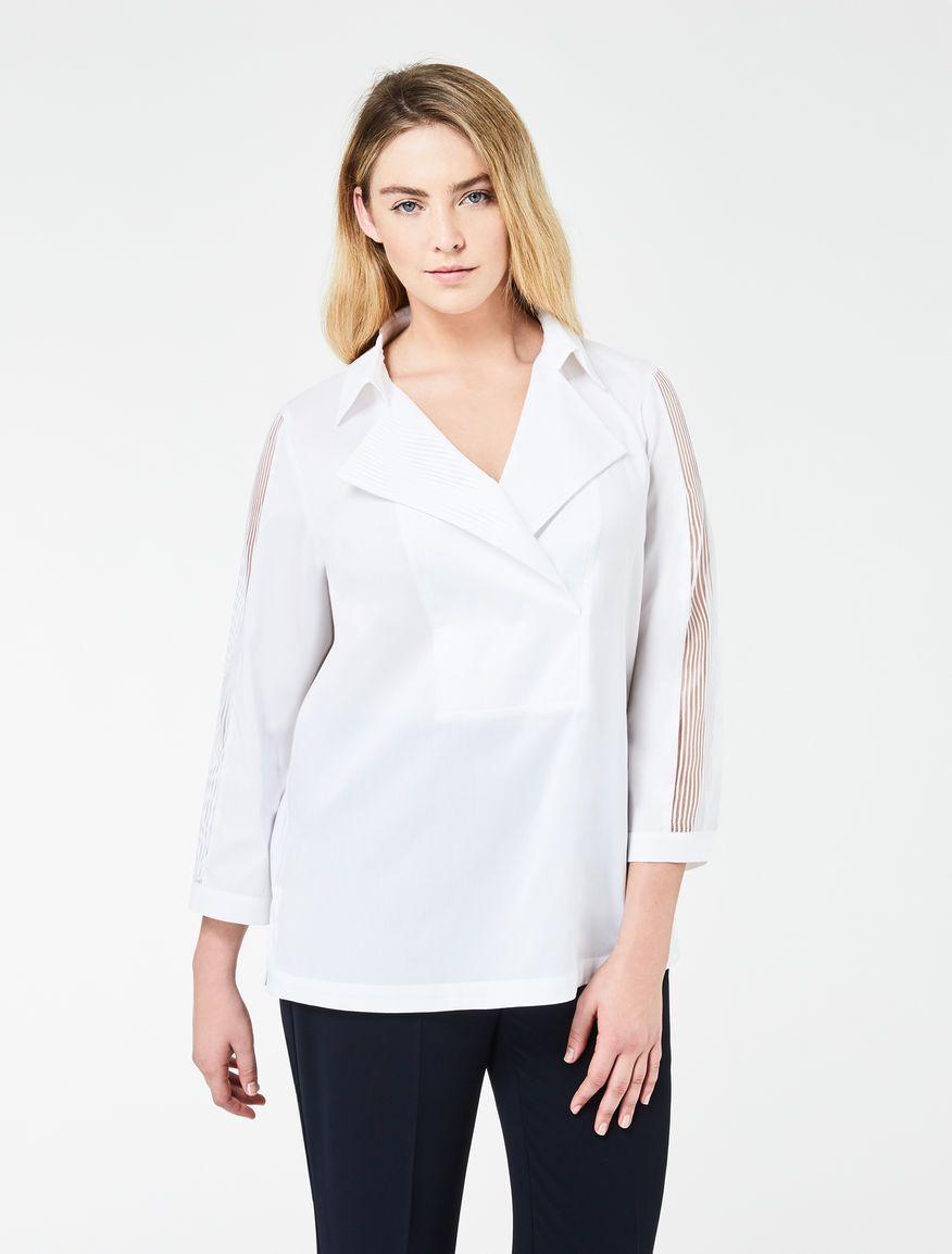 Marina Rinaldi BIMBO bianco ottico: Camicia boxy in popeline di cotone.