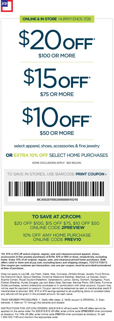 Pinned July 23rd 10 Off 50 And More At Jcpenney Or Online Via Promo Code 2preview Coupon Via The Coupons App Printable Coupons Coupons Print Coupons