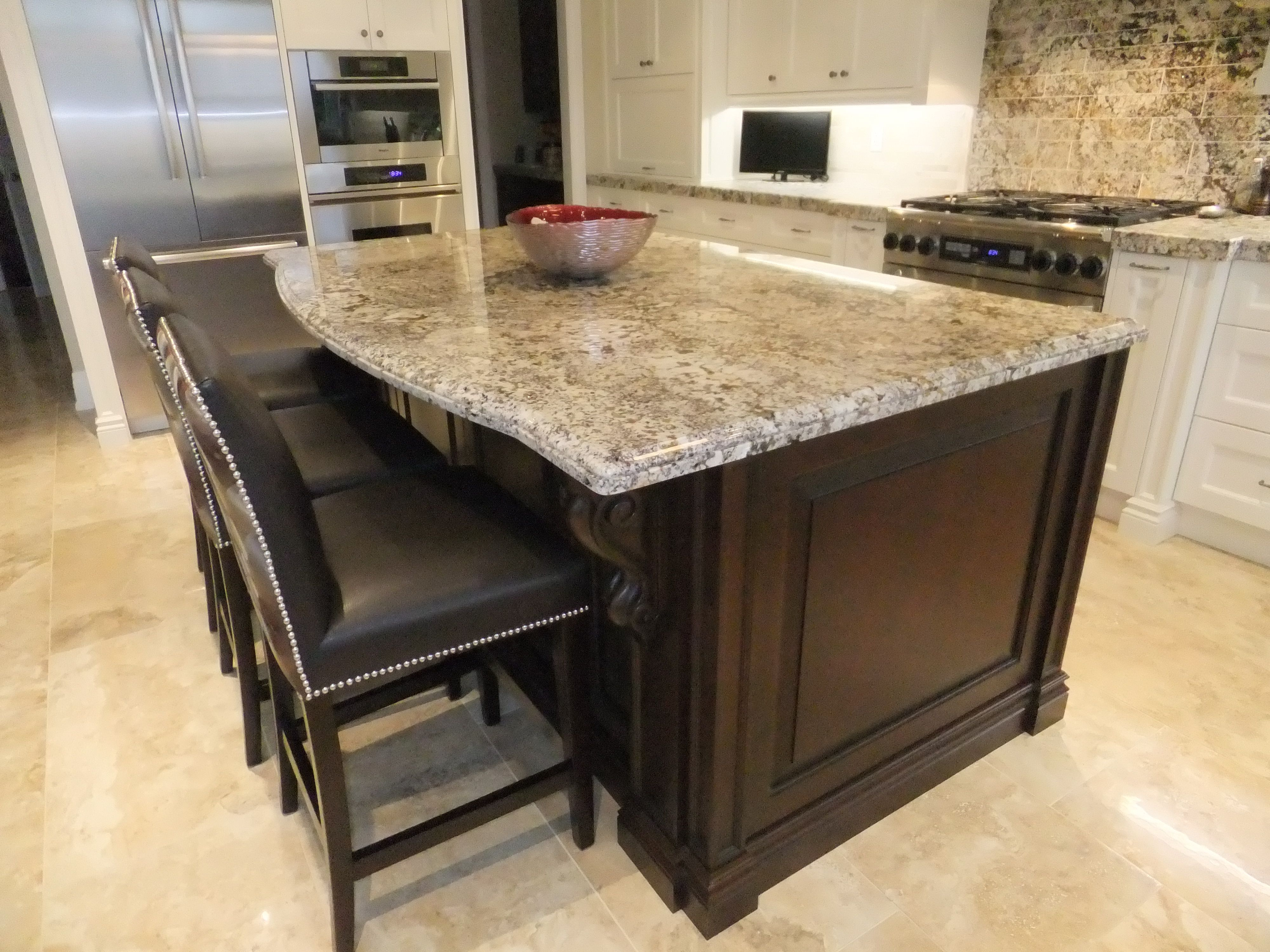 Two tone kitchen cabinets with leathered Almond White granite ...
