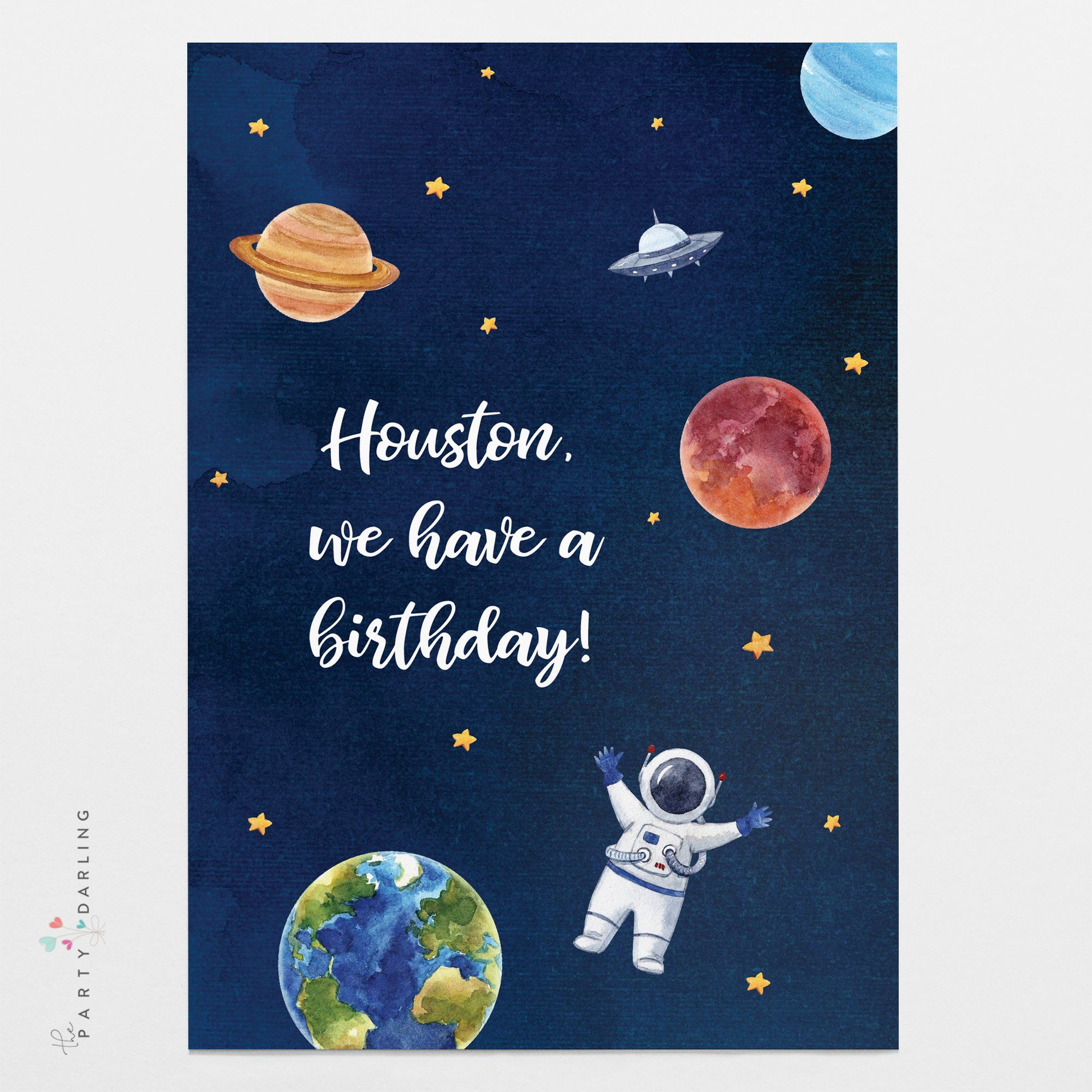 Galaxy Space Birthday Party Invitation