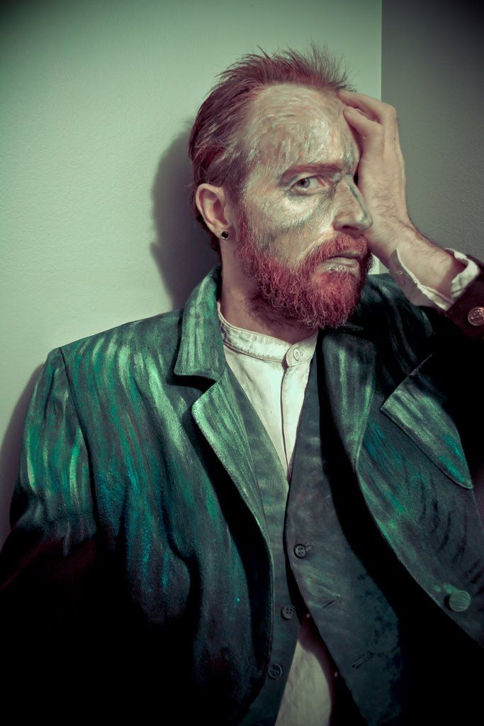 Halloween costume? Van Gogh-  It is make-up on my face, and acrylic paint on my clothes.