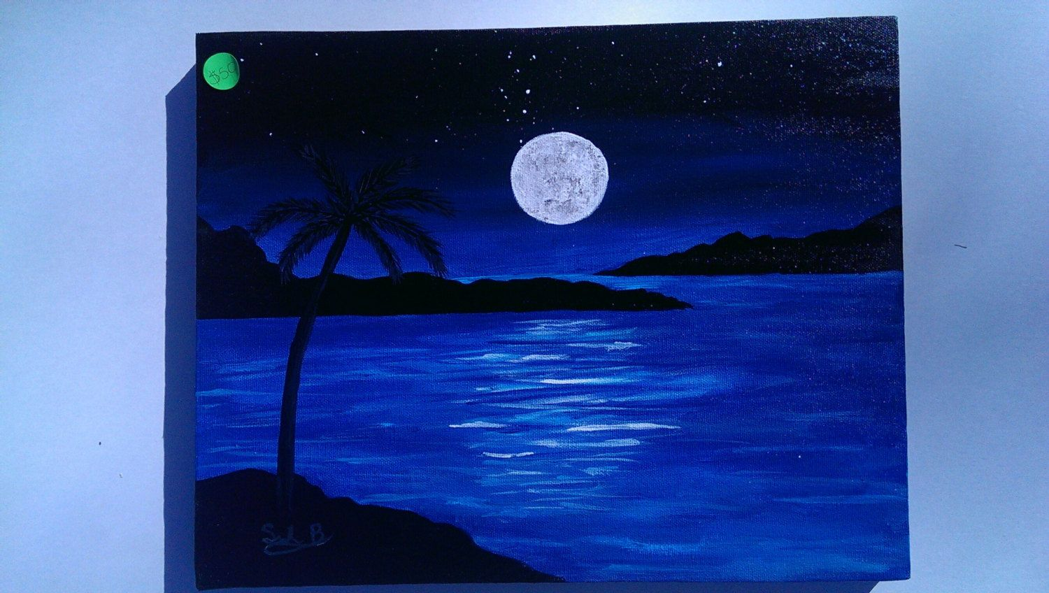 Acrylic Nighttime Ocean Painting 11 X 14 By Spectrumstudiosart On Etsy Ocean Painting Painting Landscape Paintings