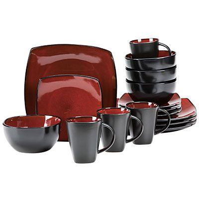 Gibson Home Red Soho Square 16 Piece Dinnerware Set Big Lots
