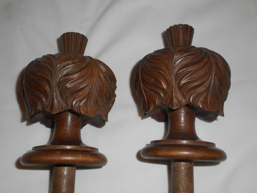 Antique Arts Crafts Carved Wooden Finials Furniture Newel Salvage
