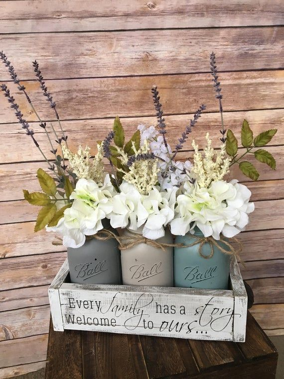 mason jar centerpiece, mason jar centerpiece decor, mason jar floral decor, farmhouse table decor, mason jar flowers, farmhouse, gather
