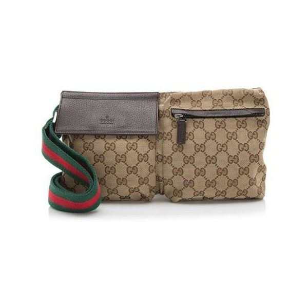 5910061b8c5 Pre-Owned Gucci GG Canvas Waist Belt Bag ( 425) ❤ liked on Polyvore  featuring bags