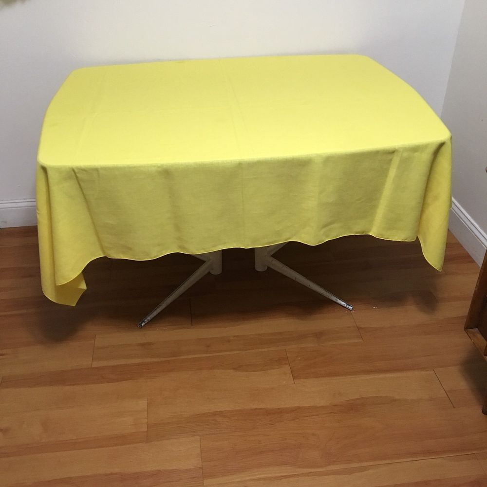 VTG Tablecloth 52 X 68 Bright Pastel Yellow Solid Linen Fabric Spring Summer